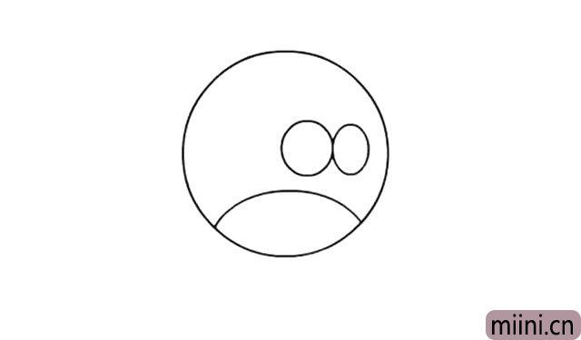 2.画出小鸟的两个圆圆的眼框, 两个眼眶紧紧的挨着,在 脸部的三分之一处左右画一条圆弧。