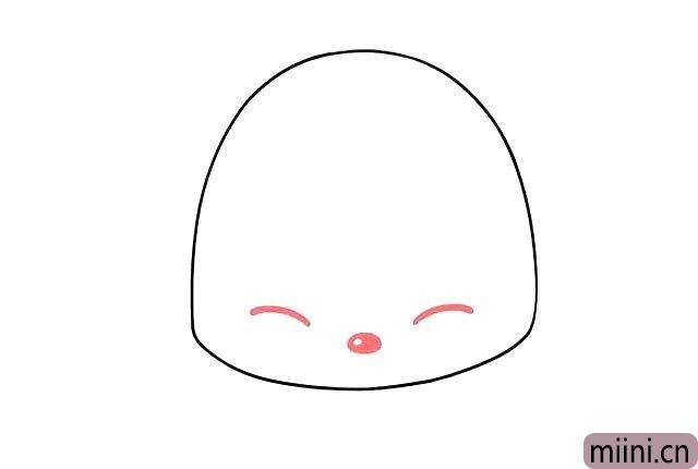 2.画阿狸的眼睛和鼻子。