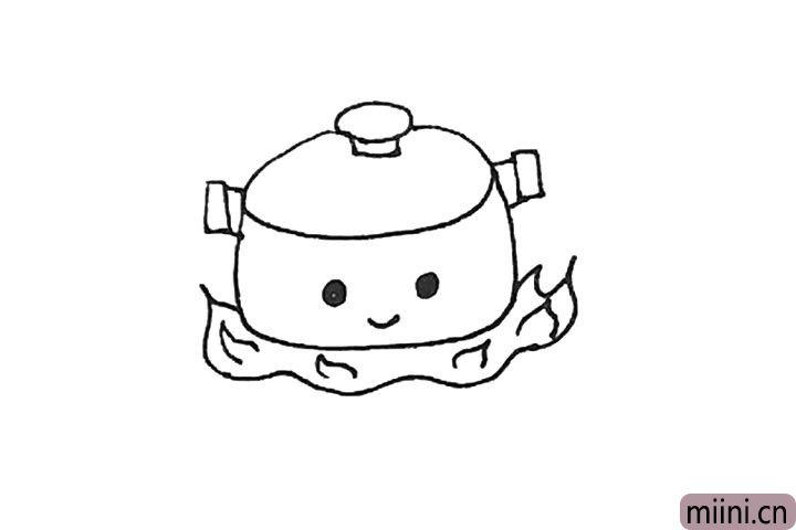 第六步:火焰里再加上一点曲线作为装饰,煮锅上还能画上眼睛嘴巴,看起来更可爱。