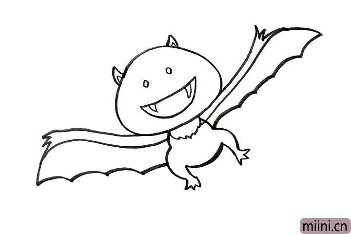 7.画上翅膀,翅膀连着手臂。