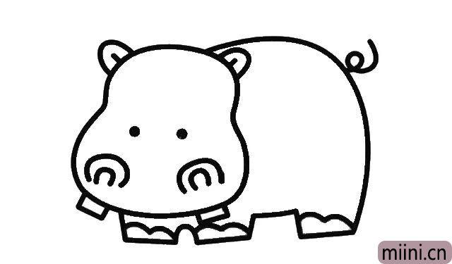 4.接着画出河马眯着的眼睛, 还有张开着的嘴巴。 这样整个河马的雏形就有了。