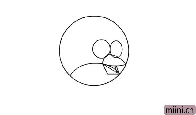 4.以圆弧为分割线, 画出小鸟的下嘴, 嘴里的舌头很好画, 也是尖尖的。
