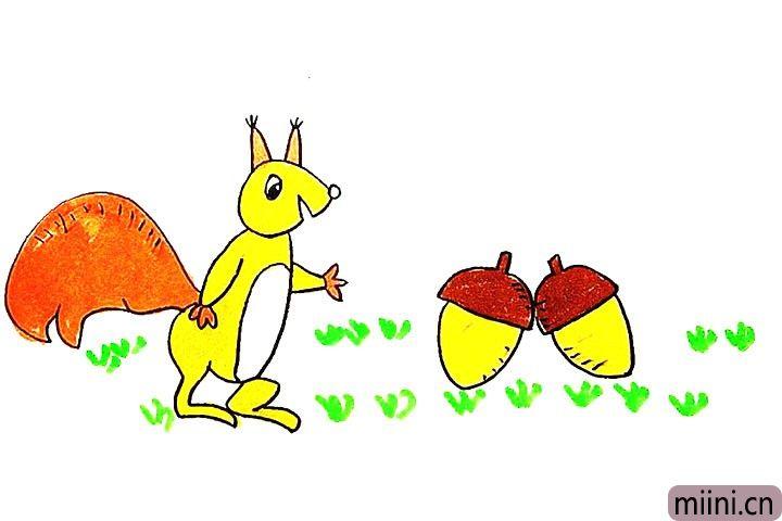 正在捡坚果的小松鼠简笔画步骤教程