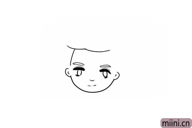 6.用弧线画出他的发际线。