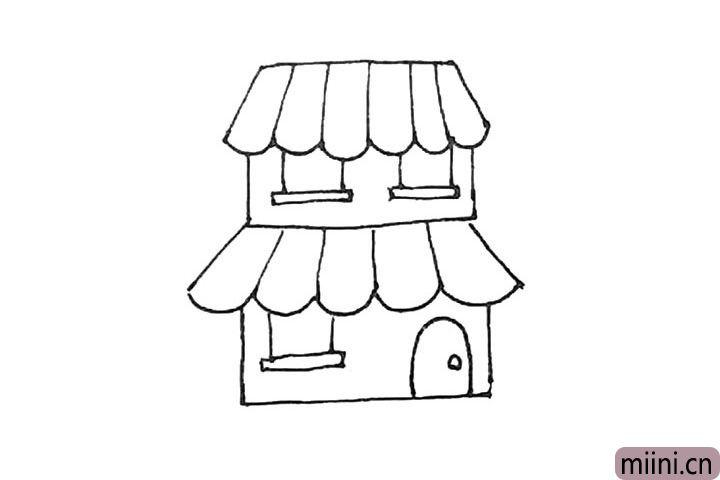 第七步:也用同样的方法画出窗户,再用半个椭圆形加上一个小圆作为门。