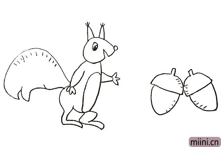 14.接着我们给松鼠画上肚白的部分。