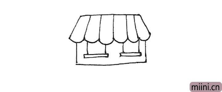 第五步:方形里面,先画出长条,再竖下两条线作为窗户。