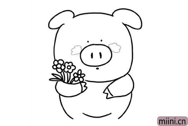 4.给可爱的小猪, 画上圆滚滚的肚子和腰