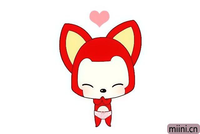 8.把阿狸的脸和肚子涂上肉色, 把阿狸的耳朵、头和身体涂上红色, 把阿狸的耳朵内侧涂上黄色, 把阿狸的脸颊涂上红晕。