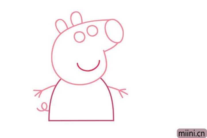 4.画身体、双手和尾巴。