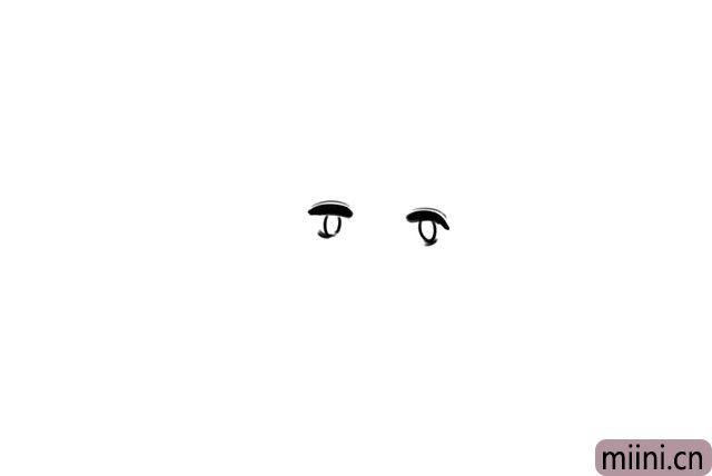 1.先画出他两只大大的眼睛。