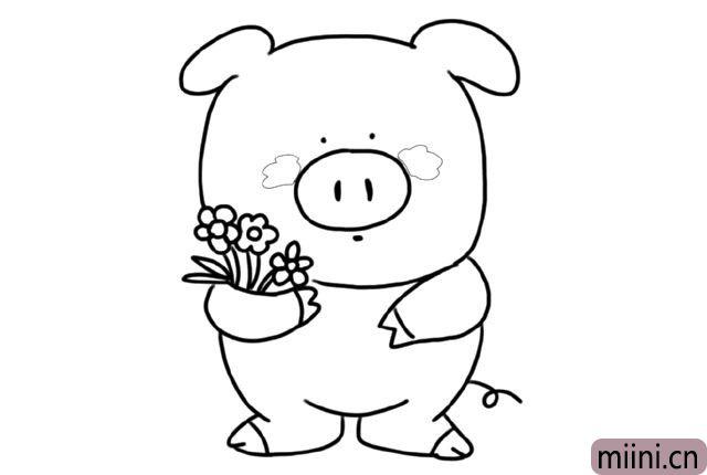 5.给小猪画上它的大猪蹄子 还有可爱的卷成了一个圈的小尾巴