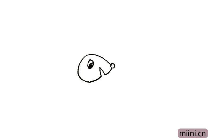 4.画出松鼠圆圆的眼睛留出高光。