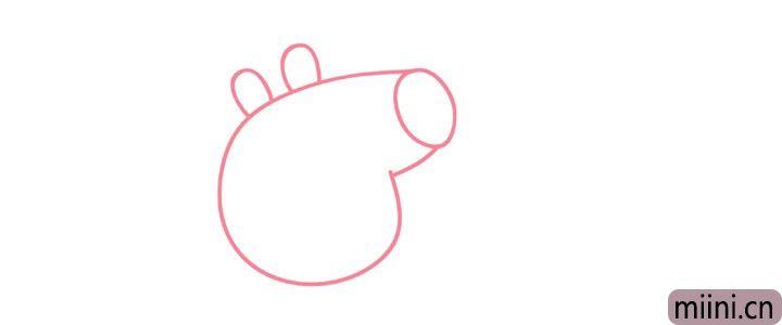 2.然后画小猪佩奇的耳朵。