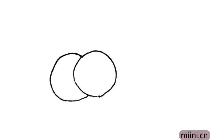 第一步:先画上两个圆形。