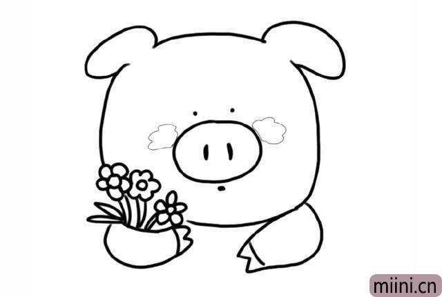 3.画出小猪的另一只手, 还有小猪的眼睛、鼻子、嘴巴 给小猪的脸颊画上两坨可爱的腮红。