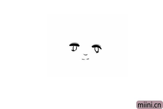 2.接着画鼻子,嘴巴都很简单轻轻一笔表示一下即可