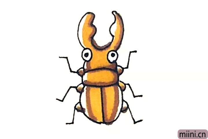 第七步:最后涂上好看的颜色,甲壳虫就画好了。