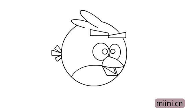 7.接着在眼眶内画出小鸟的黑色眼珠。