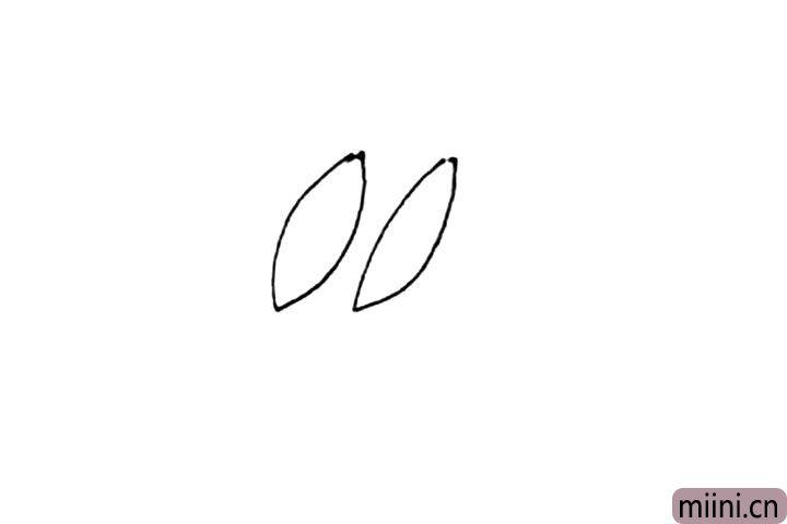 第一步:先画上两个尖尖的椭圆形作为雪兔的耳朵。