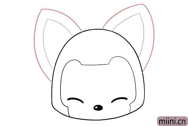4.画阿狸的大耳朵。