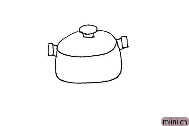 第四步:旁边,画上两个方形,再连接锅体形成把手。