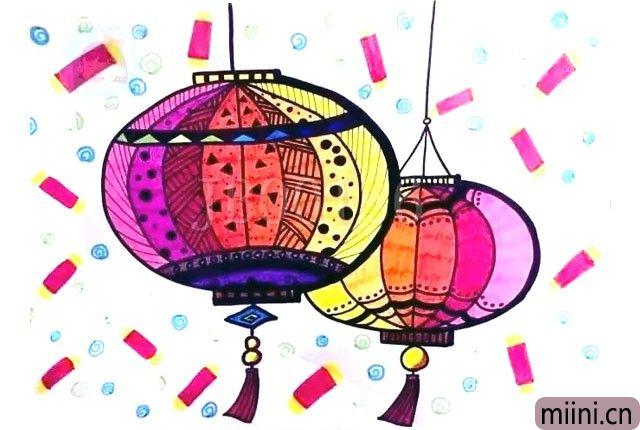 彩色的灯笼简笔画步骤教程