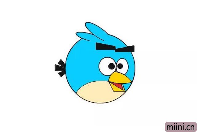 8.最后将黑色眼珠涂成黑色, 按照自己的想法把小鸟涂上颜色, 小编把小鸟涂成了蓝色。
