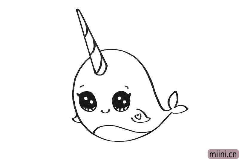 6.然后画出它的鳍肢和尾巴。