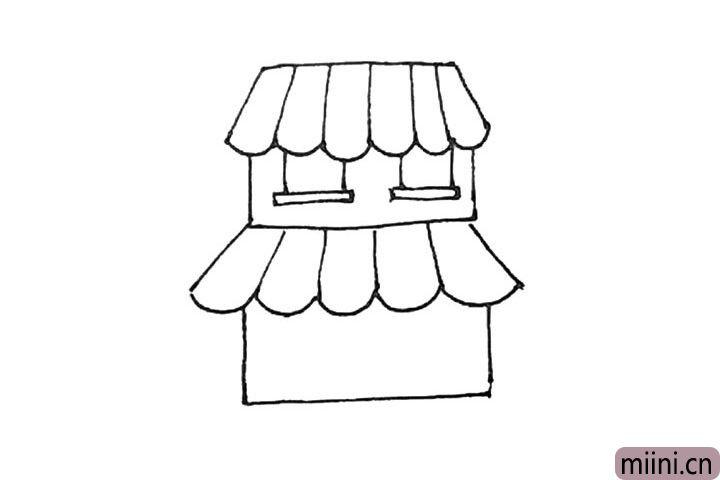 第六步:用同样的方法再画上一层楼房。