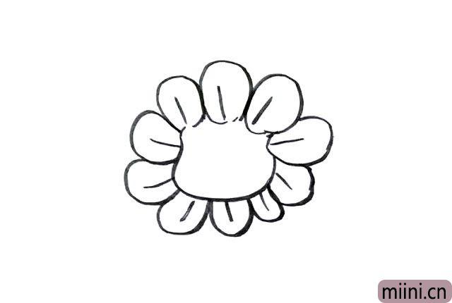 4.画出被遮挡的花瓣。