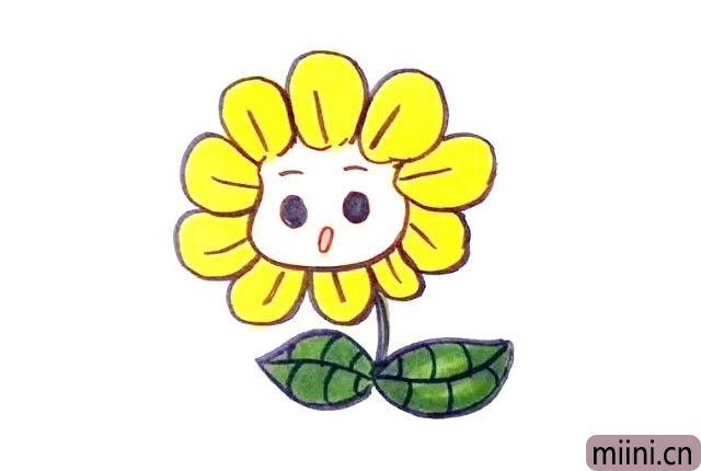 7.最后涂上漂亮的颜色, 可爱的向日葵就画好了。