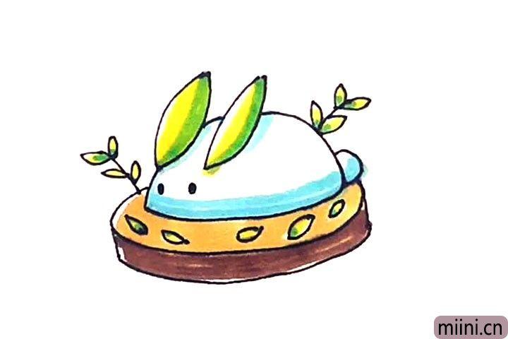 第七步:最后涂上好看的颜色,雪兔就画好了。