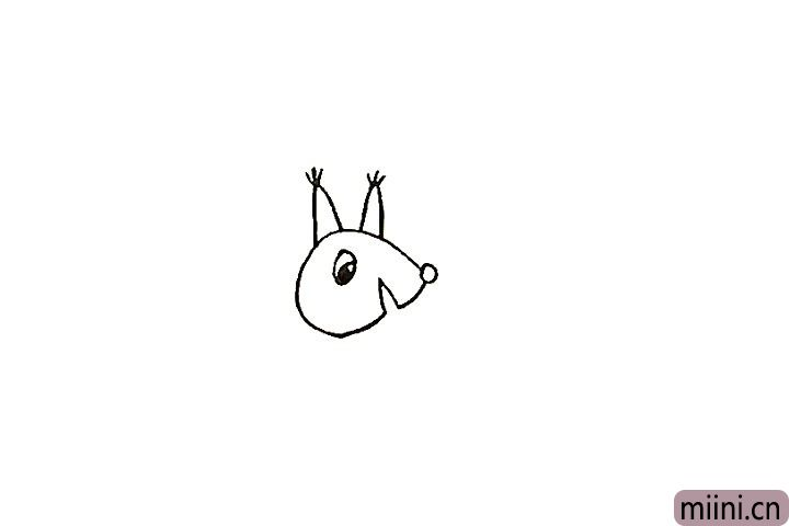 5.在松鼠的头顶画出一对尖尖的耳朵。