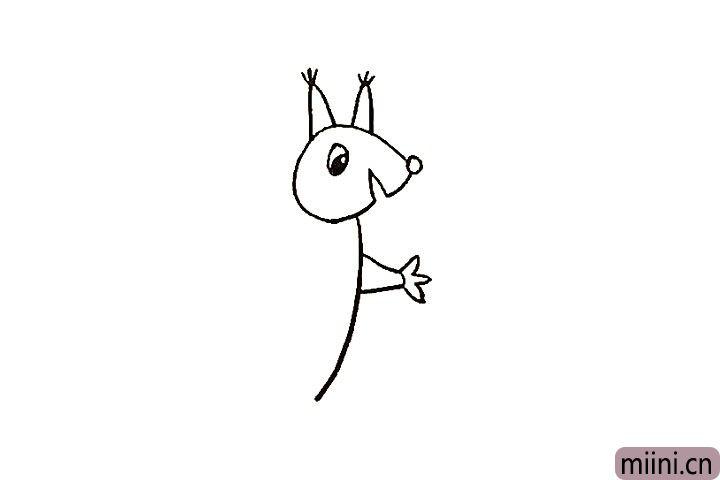 6.接着画出松鼠一侧的手臂和爪子。