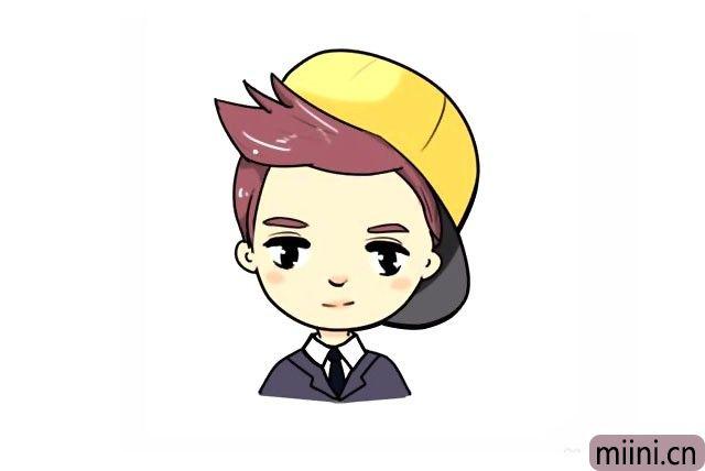 带黄色帽子的卡通鹿晗简笔画步骤教程