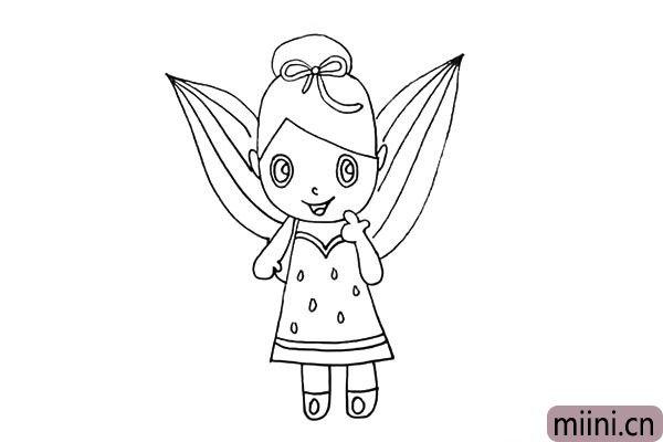 第十六步.在画出她翅膀上线条状的纹理。