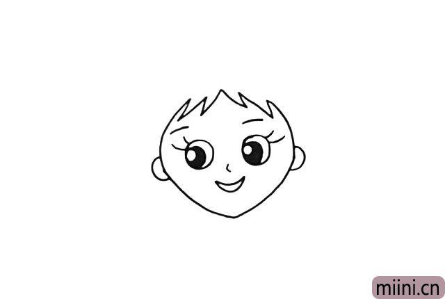 4.然后画出她的刘海和耳朵。