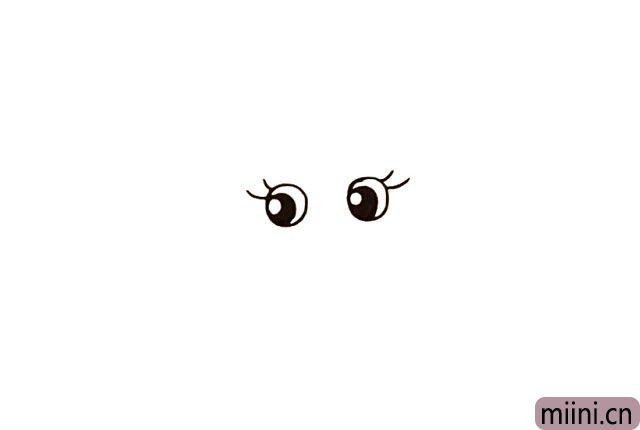 1.首先画上美人鱼的眼睛.眼珠流出高光.还有睫毛。