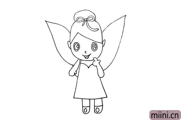 第十四步.还有她的耳朵.她的耳朵有点尖尖的。