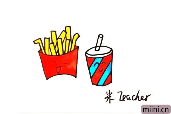 好吃的薯条和可乐简笔画步骤教程