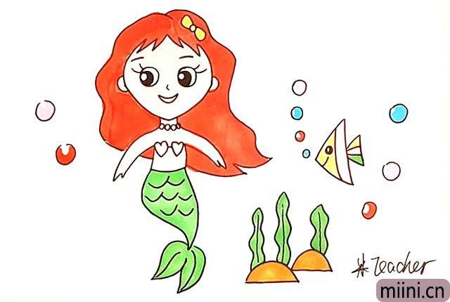15.最后把画好的美人鱼涂上漂亮的颜色吧。