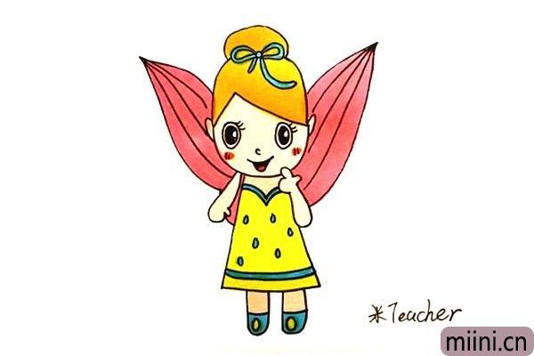 身后有红色翅膀的精灵女孩简笔画步骤教程
