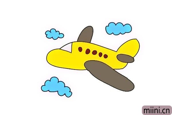 遨游天空的黄色飞机简笔画步骤教程