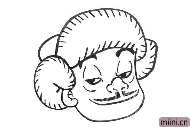 3.然后帽子上面画上短斜线,画眉毛眼睛鼻子胡子和嘴巴。