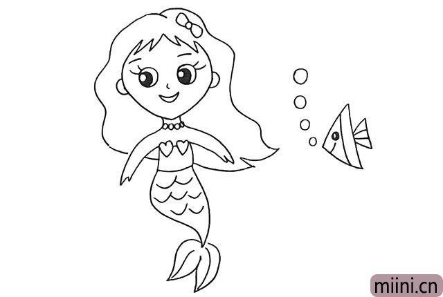 12.我们来把她的周围装饰一下.画一条热带鱼。