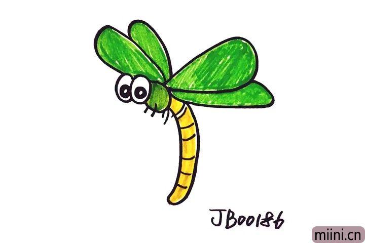 绿色的大眼蜻蜓简笔画步骤教程