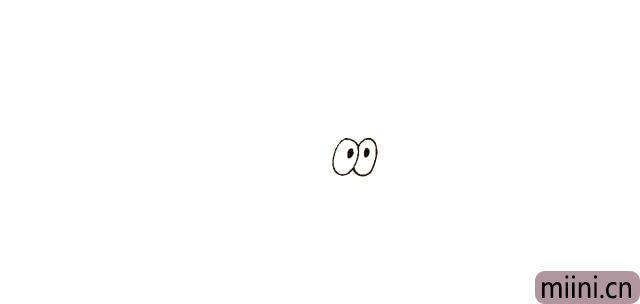 2.在眼睛的中间画上两个圆圆的黑点,代替他的眼珠。