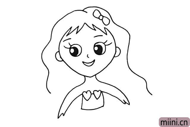 7.画出她小小的身体.胸前还有两颗漂亮的心型。
