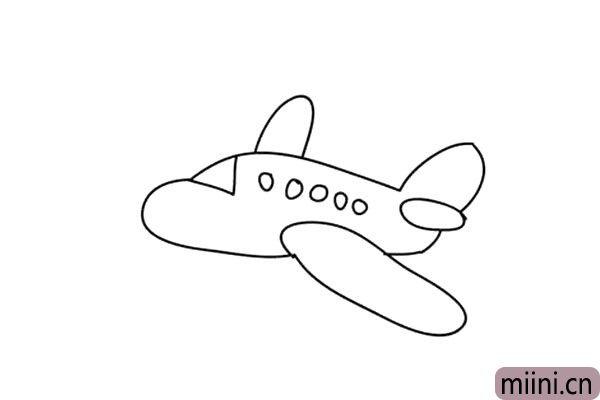 3.飞机的上方画出另一个小的翅膀。在机头上面画上驾驶舱,机身上画一些小圆儿窗户。
